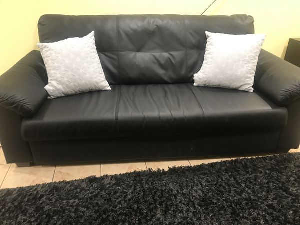 Ikea Black leather sofa set with comfy lounge chair ! for ...
