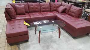 Brand new red faux leather sectional sofa with ottoman for Sale in Silver Spring, MD