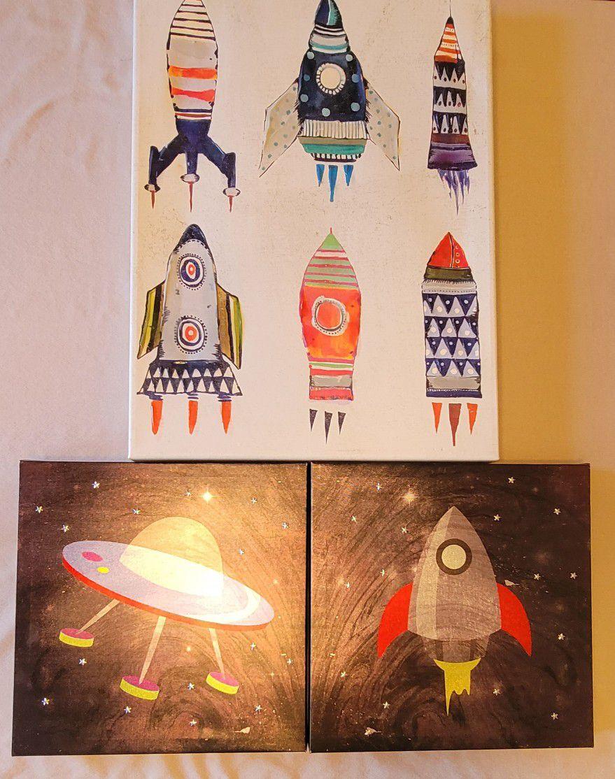 Decor Boys Prints Pictures Rocket Space Art