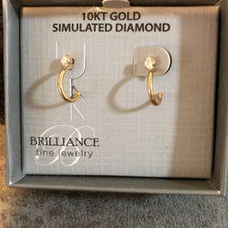 10 KT SIMULATED DIAMOND 💎 GOLD EARRINGS  Thumbnail