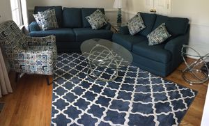 Living Room Complete Set (includes: sofa, love seat, chair, 3 glass tables, table lamp, rug) for Sale in Midlothian, VA