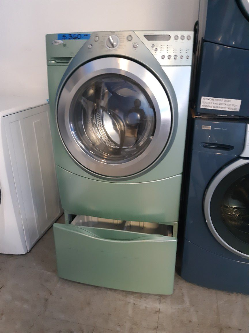 WHIRLPOOL FRONT LOAD WASHER WITH PEDESTAL WORKING PERFECTLY W/4 MONTHS WARRANTY