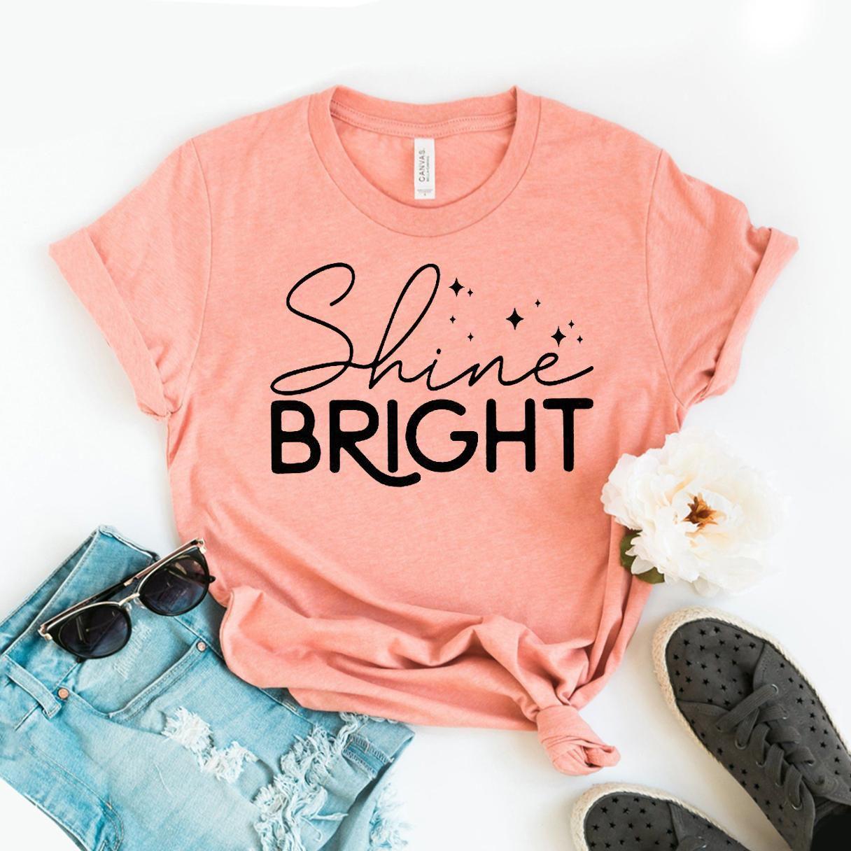 Shine Bright T-shirt, Positive Quote Shirt, Counselor Shirts, Motivational Top, Women's Sunshine Tee, Inspirational Size X-Large