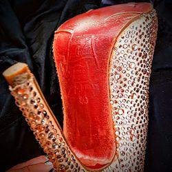 Christian Louboutin Red-Soled Sparkly Gold Stilettos Thumbnail