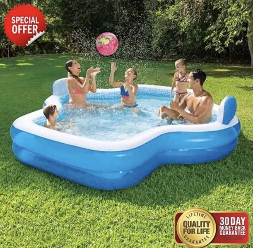 Members Mark Elegant Family Pool 10 Feet Long 2 Inflatable Seats with Backrests