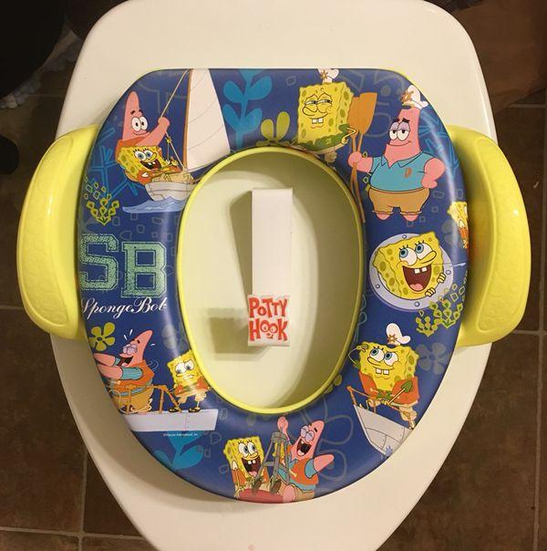 Spongebob Potty Training Toilet Seat Like New With Potty Hook For