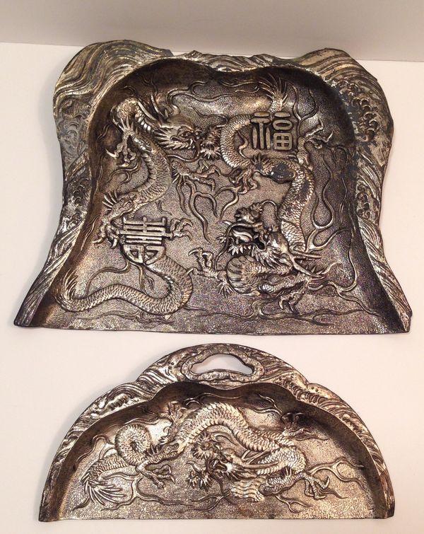2 Piece Set Of Antique Japanese Pewter Ornate Dragons