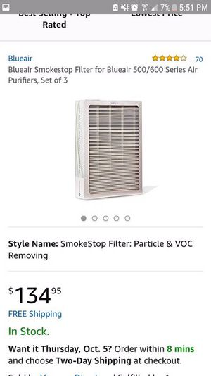 Blue air smoke stop fliter set of 5 for Sale in Las Vegas, NV
