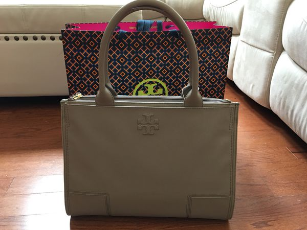 c2be33d0f ... inexpensive tory burch ella leather canvas tote handbag french gray for  sale in round rock tx