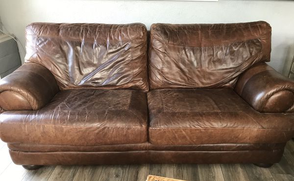 Rustic Brown Leather Couch For In Santee Ca Offerup