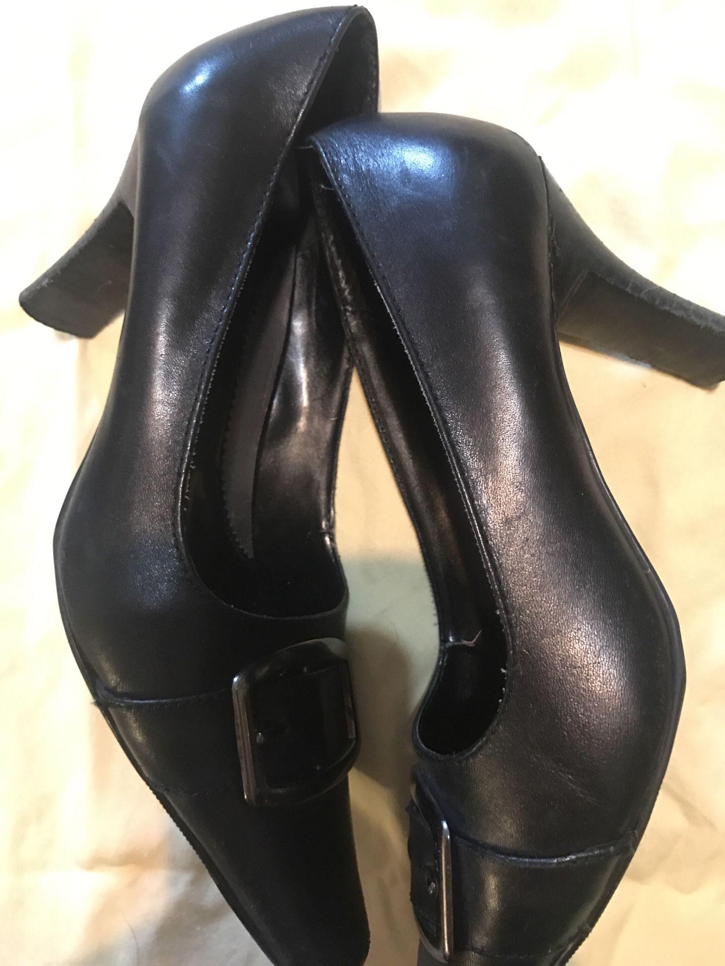 Casual Black Heels - women's size 7-8