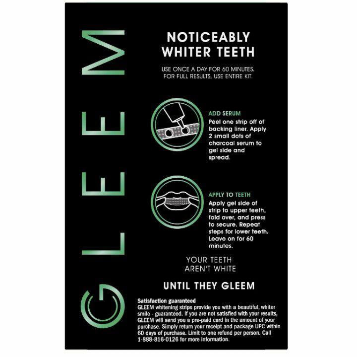 NWT Gleem Whitening Strips With Charcoal Serum Kit