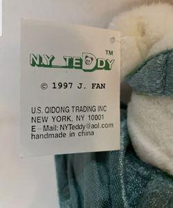 NY TEDDY BEAR J. Fan 1997, White Plush, New York, Statue of Liberty, Twin Towers Thumbnail