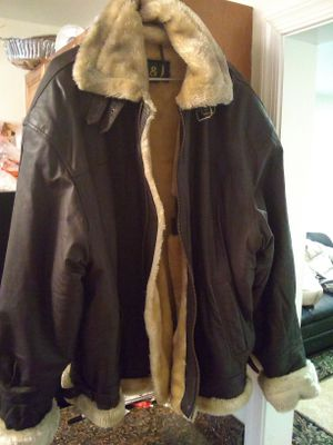 Dark brown leather jacket with fur inside jacket for Sale in Washington, DC
