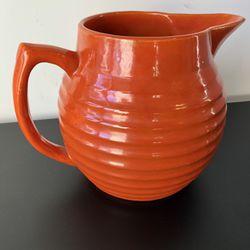 Antique LARGE Bauer 2 Qt Orange Ringed Pitcher Jug Pottery Vintage Thumbnail