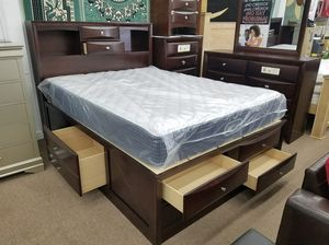 Dark cherry queen size storage complete bedroom sets for Sale in Silver Spring, MD