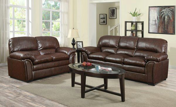 2pc Brown Overstuffed Leather Sofa And Loveseat For In Marietta Ga Offerup