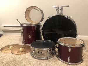 CB 5 piece drum set with zildjian high hat top and bottom cymbals for Sale in Germantown, MD