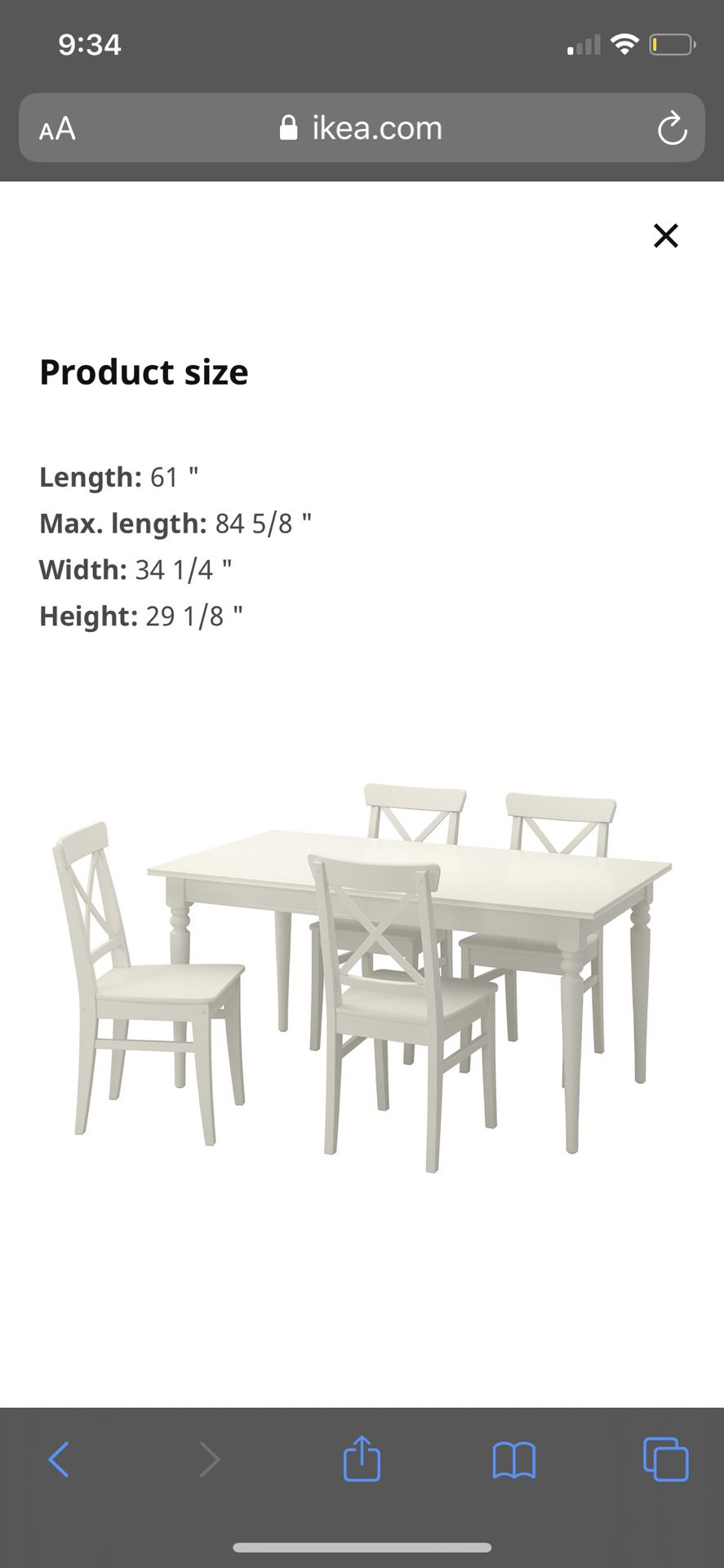 IKEA Dinning table with 4 chairs (extendable table)