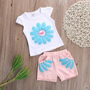 Brand New Kids 2018 Back To School Clothing Set Cute Girls Baby Kids Sun Flowers Tops Shirt Shorts Summer Outfits Clothes children clothing sets for Sale in Hickory, NC