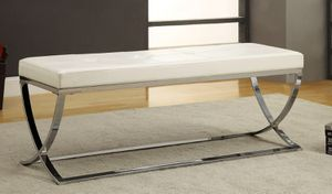 WHITE AND CHROME BENCH for Sale in Hialeah, FL
