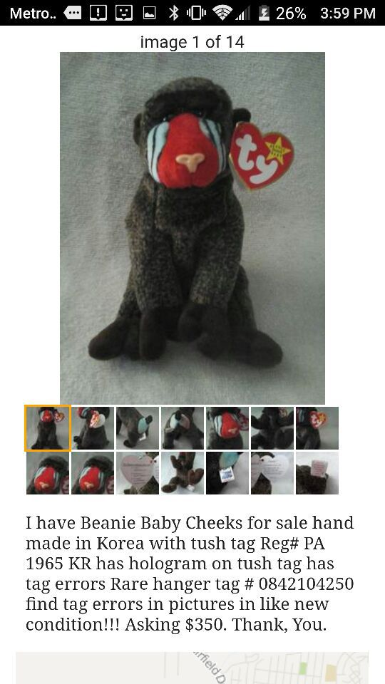 fcb44a25f32 Beanie Baby Cheeks Korean Market hand made for Sale in Pensacola