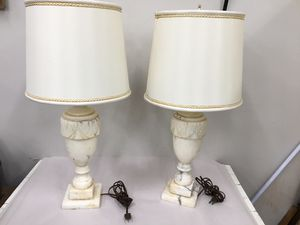 Pair of marble-alabaster lamps for Sale in Fort Washington, MD