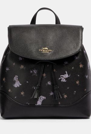 Photo Disney coach spring Dalmatian floral black leather backpack new $428