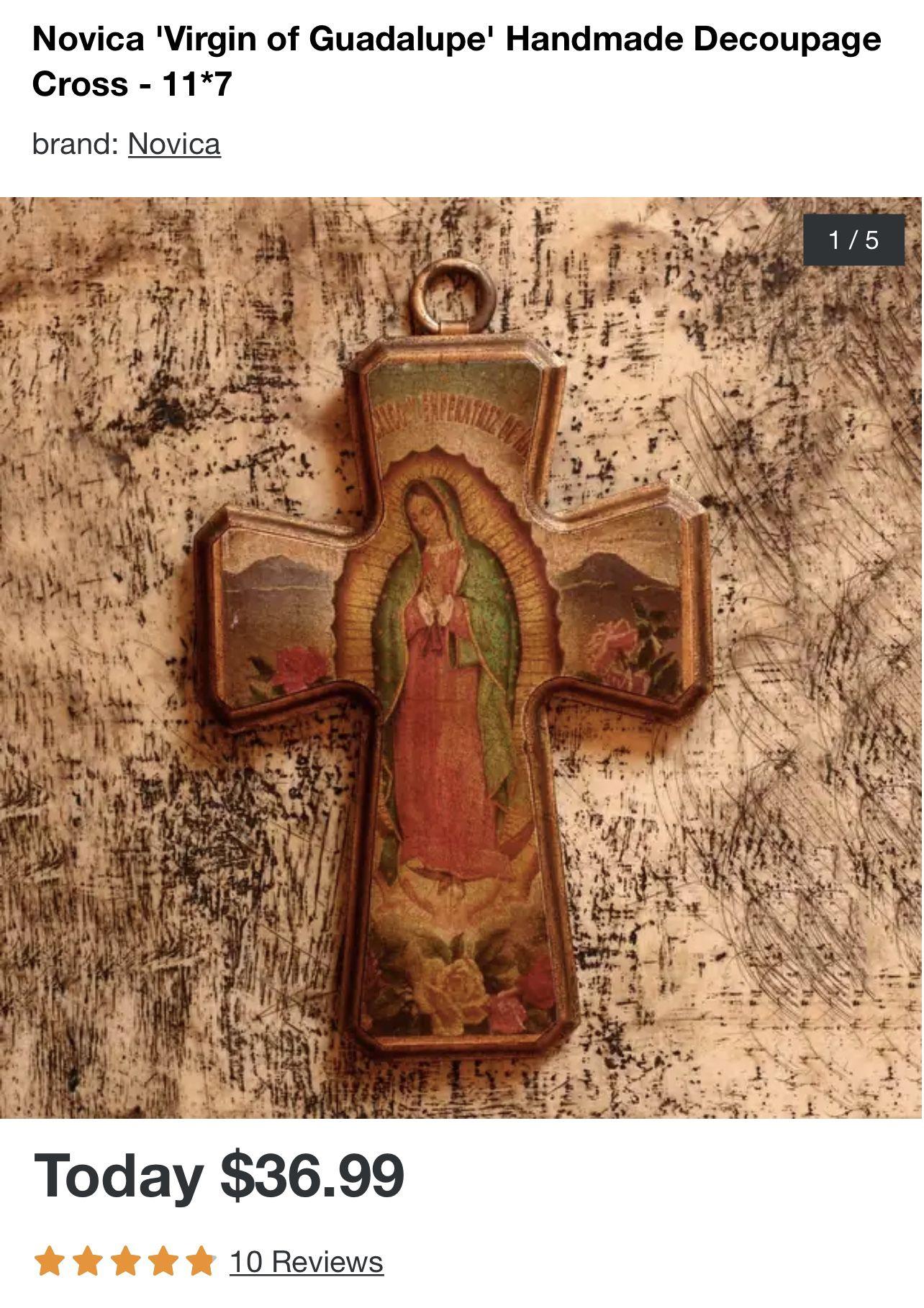 Novica 'Virgin of Guadalupe' Handmade Decoupage Cross - 11*7 set of 2