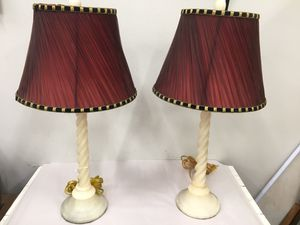 Pair alabaster lamps reddish shades for Sale in Fort Washington, MD