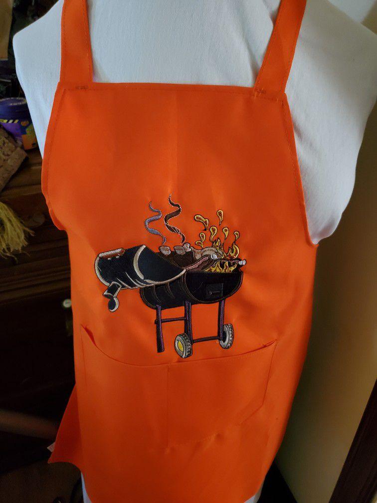 BBQ Me Some Food Orange Apron,embroidered