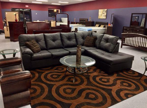 New Plush Ebony Leather Sectional Sofa