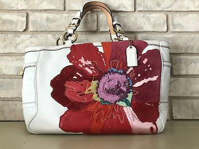 Wholesale coach red poppy flower purse 87c23 5919b new arrivals coach gallery tote limited edition poppy handbag floral white leather 9244 coach gallery tote mightylinksfo