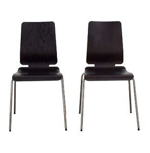 2 Ikea Gilbert stackable dining chairs office espresso ...