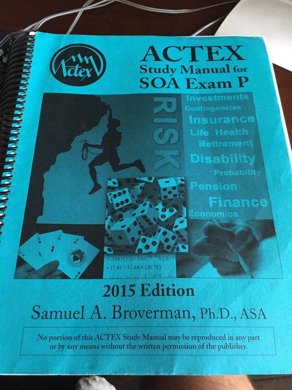 ACTEX Study Manual for SOA Exam P for Sale in Katy, TX - OfferUp