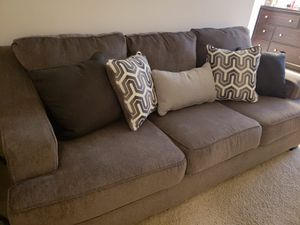 Gray love seat with pillows for Sale in Falls Church, VA