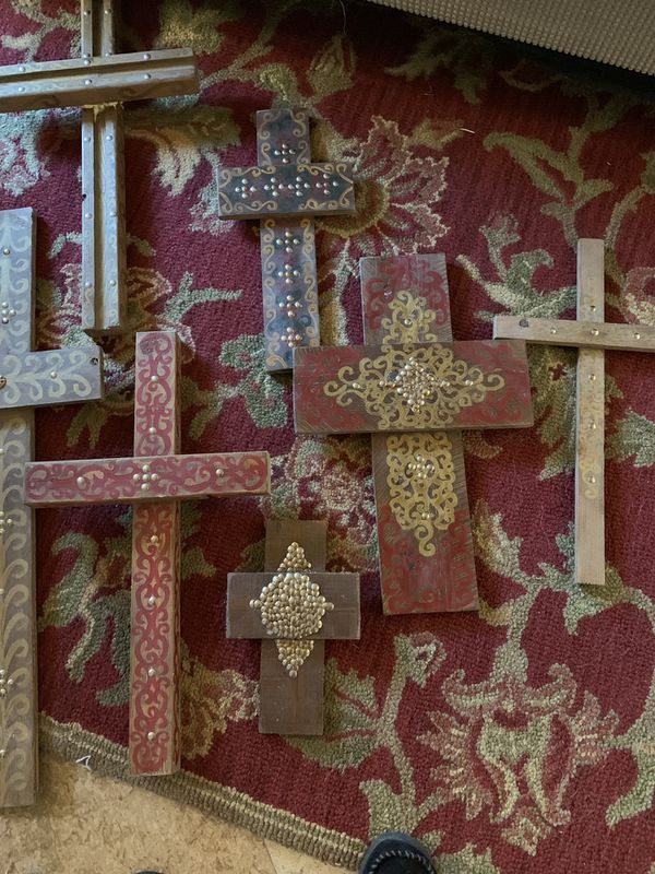 Wood Crosses Hand Painted Gorgeous Set Of 7 For Sale