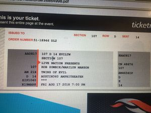 Rob Zombie / Marilyn Manson Ticket for Sale in Austin, TX