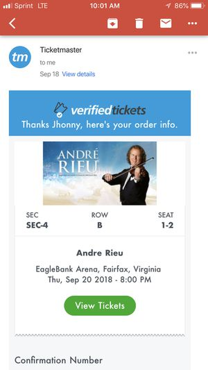 Andre Rieu vip tickets for Sale in Alexandria, VA