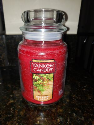 Yankee Candle large jar candle- Red Berry & Cedar for Sale in North Potomac, MD