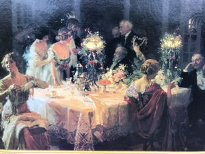 Dinner Party Print in Gold Frame for Sale in Atlanta, GA