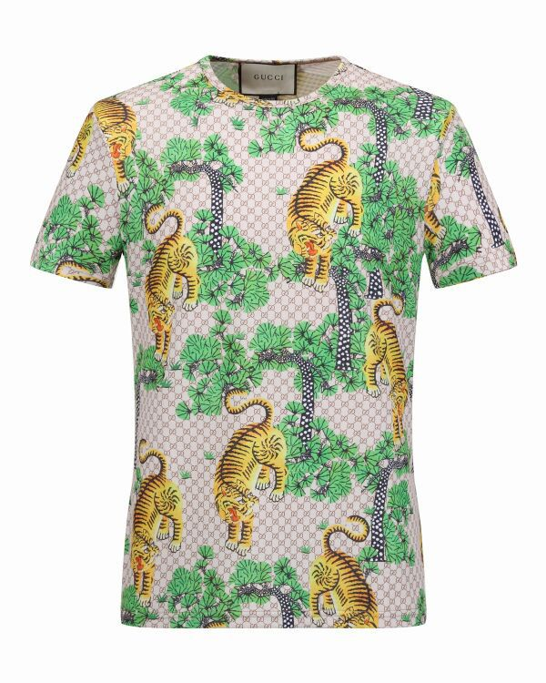 53492fda4dd Gucci  115 Dublin Bengal GG Supreme appliqué linen T-shirt