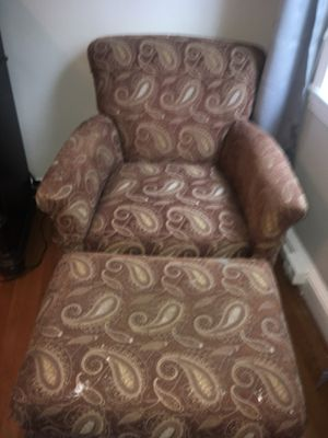Crate & Barrel Upholstered Chair & Ottoman for Sale in Arlington, VA