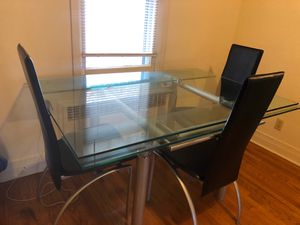 Photo Glass Dining Table - 4 Piece Set
