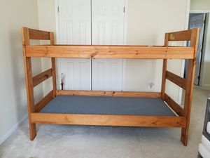 Solid Oak Twin Bunk Bed with Mattress Boards for Sale in Manassas, VA