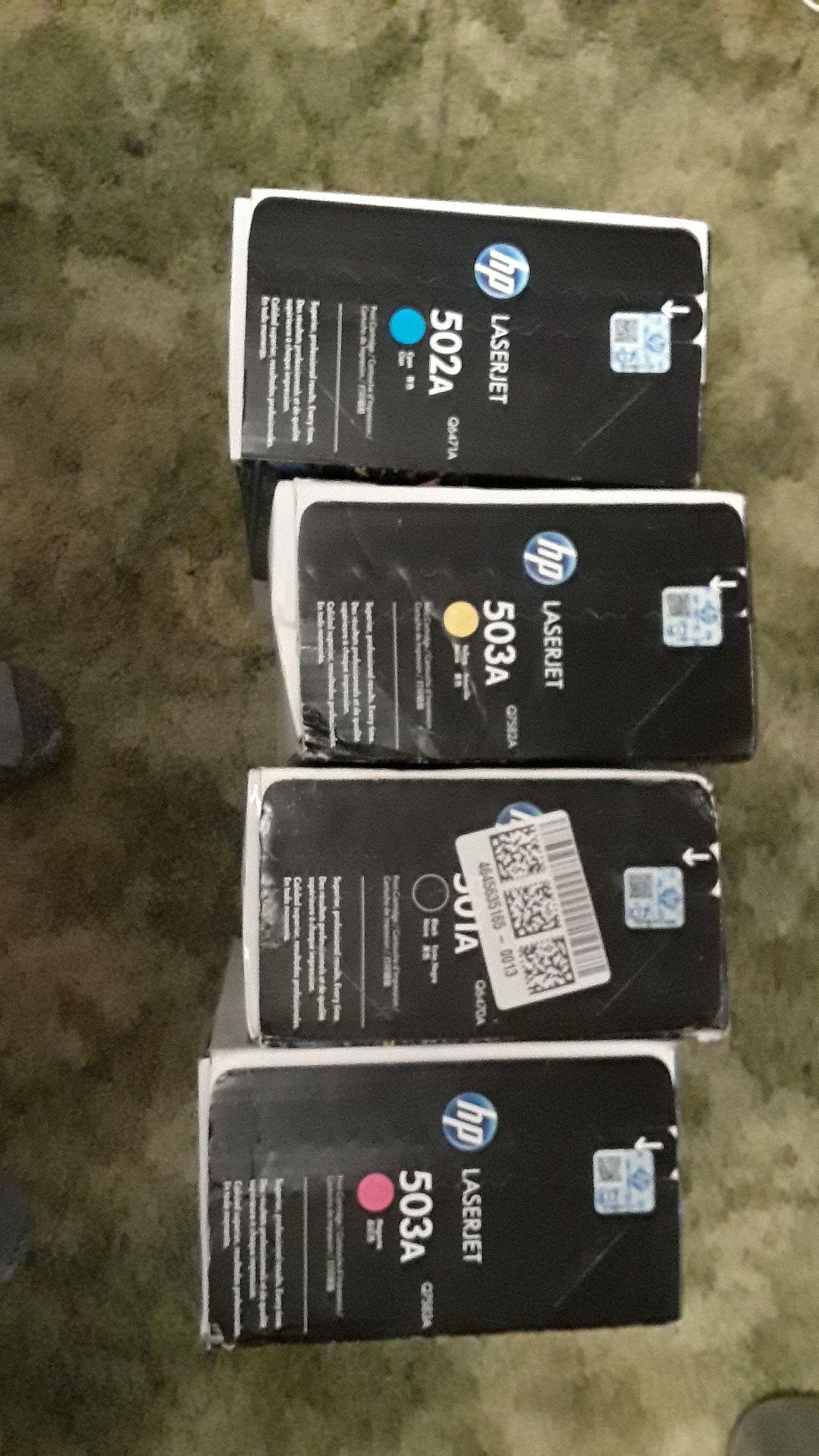 Hewlett Packard HP 501A 502A 503A 503A Black Yellow Magenta Cyan Sealed