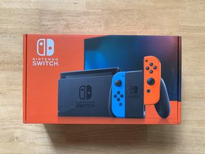 Photo Nintendo Switch Neon Red and Neon Blue Joy-Con Console (V2) Fast Shipping