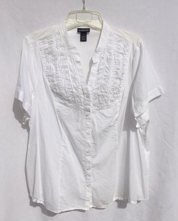 d621af29d6c Lane Bryant white cotton short sleeve shirt top women s plus size 26-28 4X