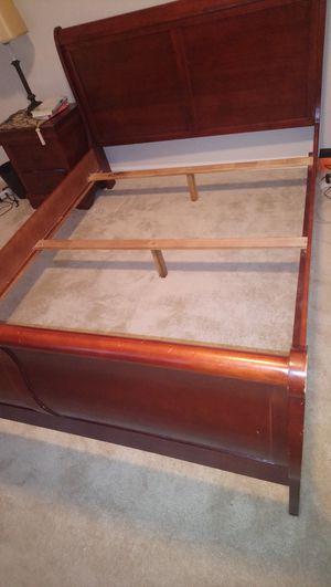 Queen Cherry sleigh bed frame for Sale in Ashburn, VA
