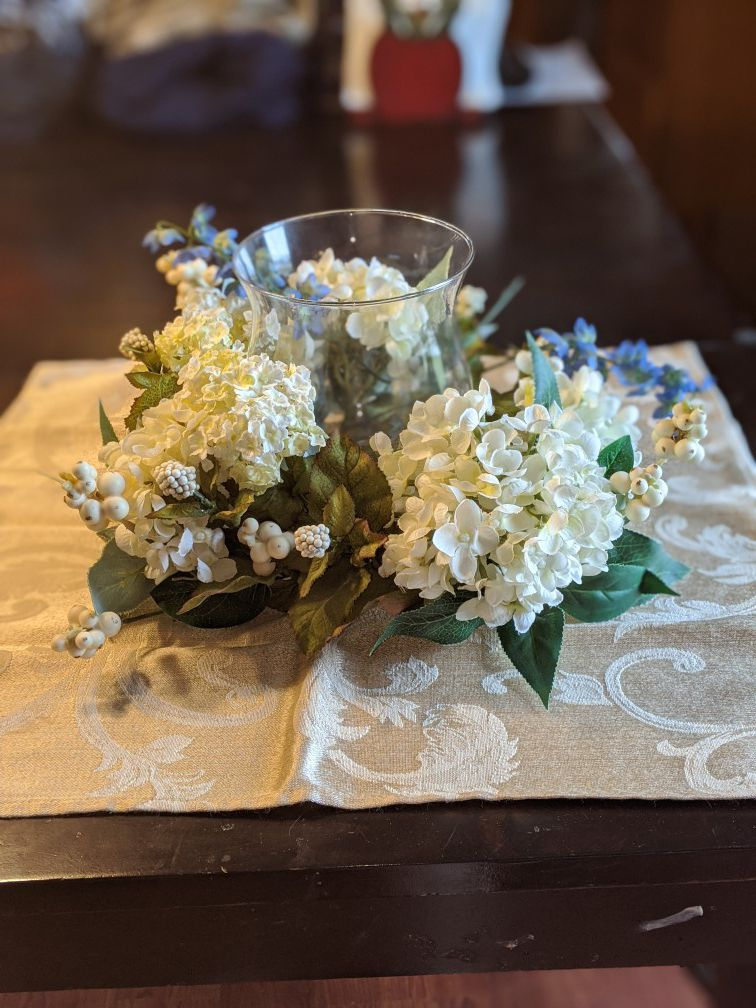 Silk Floral Arrangement with Glass Candle Holder